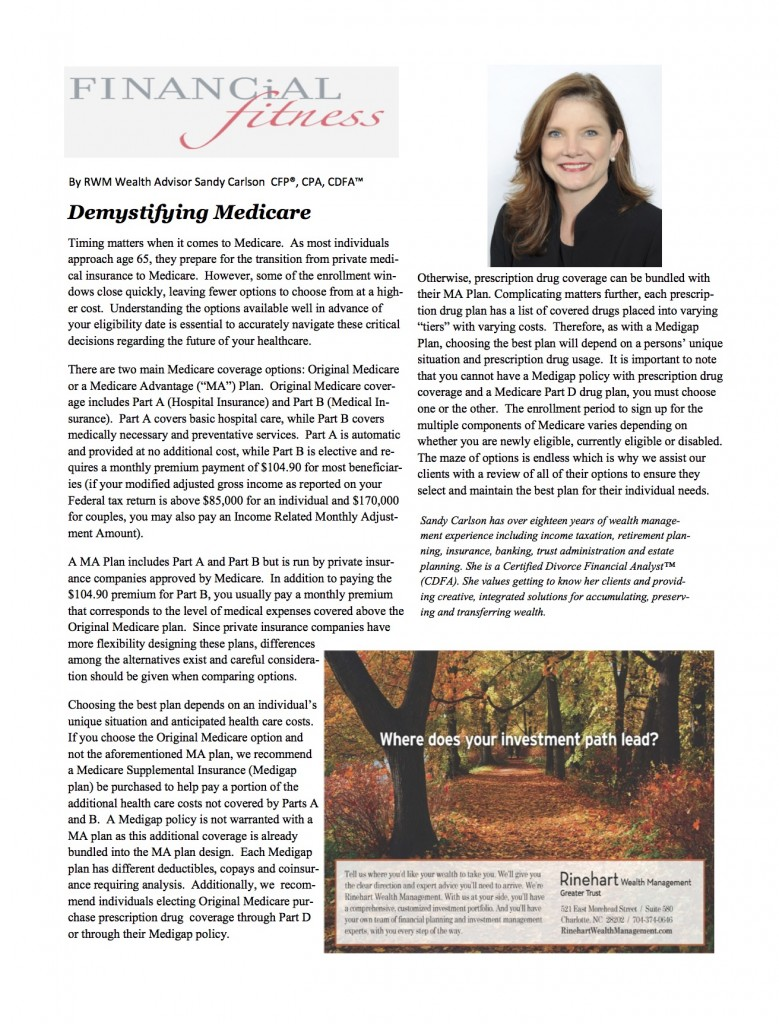 Sandy Carlson, CFP®, CPA, CDFA featured in Myers Park Life ...
